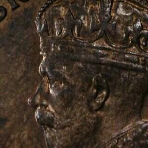 Softly struck obverse of a 1921 half penny