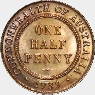 1939  Half Penny reverse