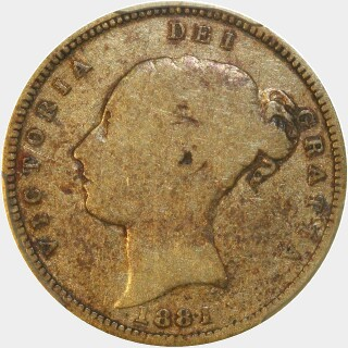 1881-S Crenulated Reverse Low Relief Half Sovereign obverse
