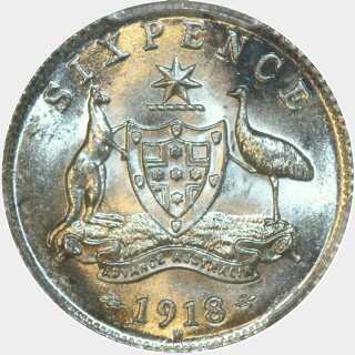 1918-M  Sixpence reverse