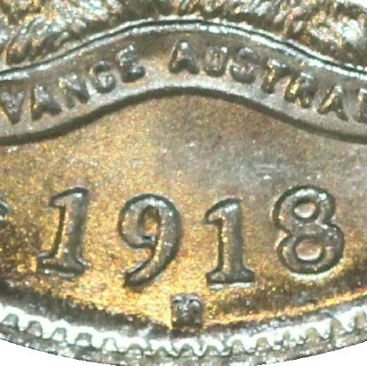 Melbourne 'M' mint-mark on a 1918-M Sixpence.