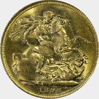 1898-M  Full Sovereign reverse