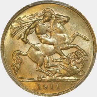 1911-P  Half Sovereign reverse