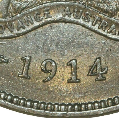 No mint-mark on a 1914 Florin struck at the Royal Mint in London.