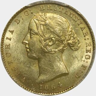 1864 Roman 1 in date Half Sovereign obverse