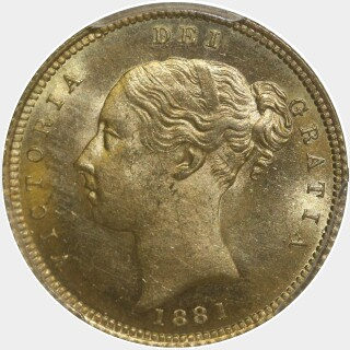 1881-S Beaded Reverse Low Relief Half Sovereign obverse