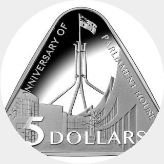 2013 Proof Five Dollar reverse
