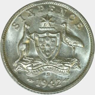 1942-S  Sixpence reverse