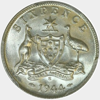 1944-S  Sixpence reverse