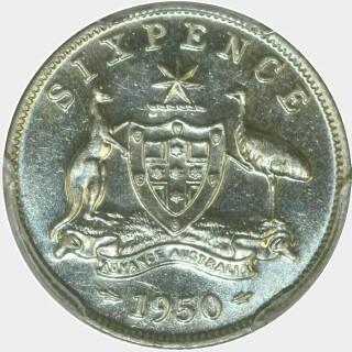 1950  Sixpence reverse