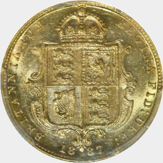 1887-M Wide JEB Half Sovereign reverse