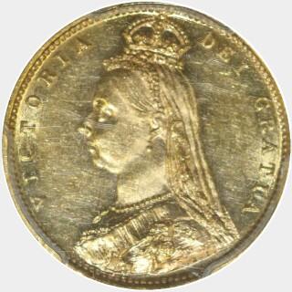 1887-M Wide JEB Half Sovereign obverse