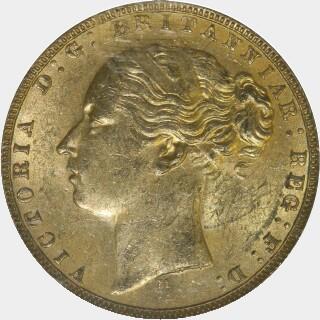 1873-M Narrow Truncation Long Tail Full Sovereign obverse