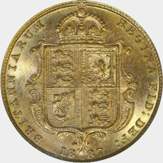1887-M Narrow JEB Half Sovereign reverse