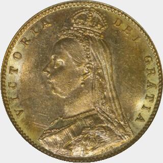 1887-M Narrow JEB Half Sovereign obverse