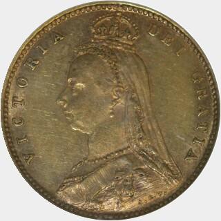 1887-M Medium JEB Half Sovereign obverse
