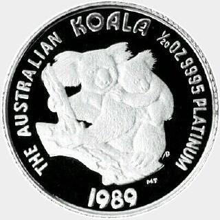 1989-P Proof Platinum Five Dollar reverse