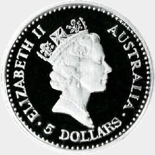 1989-P Proof Platinum Five Dollar obverse