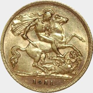 1911-S  Half Sovereign reverse