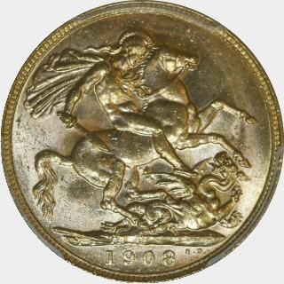 1908-P  Full Sovereign reverse