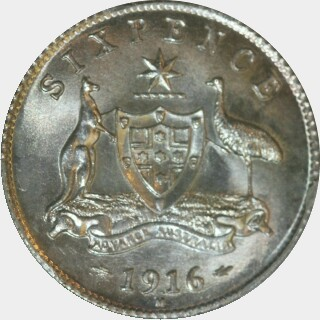1916-M Specimen Sixpence reverse