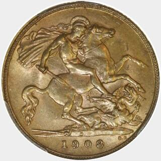 1908-P  Half Sovereign reverse