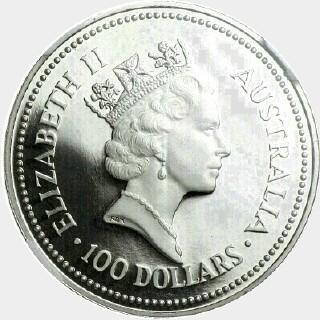 1991-P Platinum One Hundred Dollar obverse