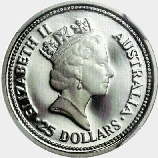 1991-P Platinum Twenty Five Dollar obverse