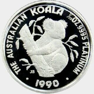 1990-P Proof Platinum Five Dollar reverse