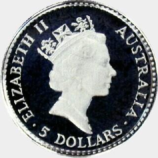 1990-P Proof Platinum Five Dollar obverse