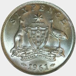 1961  Sixpence reverse