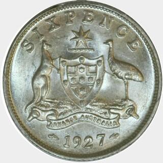 1927  Sixpence reverse