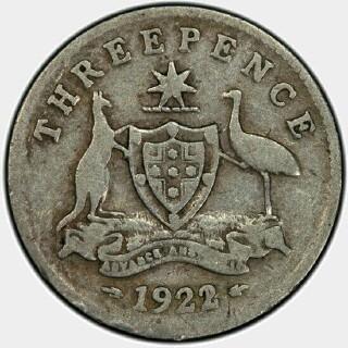 1922/21 Overdate Threepence reverse
