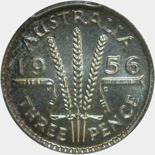 1956 Proof Threepence reverse