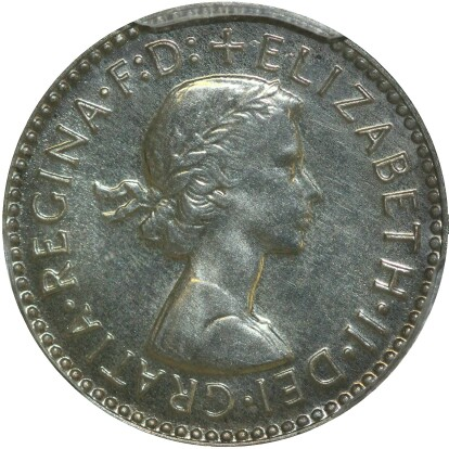 Obverse of the 1956 proof threepence
