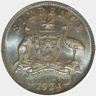 1924  Sixpence reverse