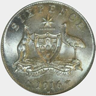1916-M  Sixpence reverse