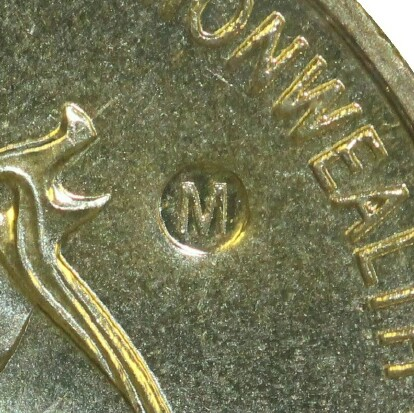 Melbourne (M) mint-mark on 2006-M (Commonwealth Games) one dollar piece.
