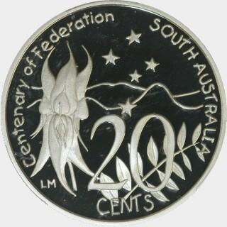 2001 Proof Twenty Cent reverse