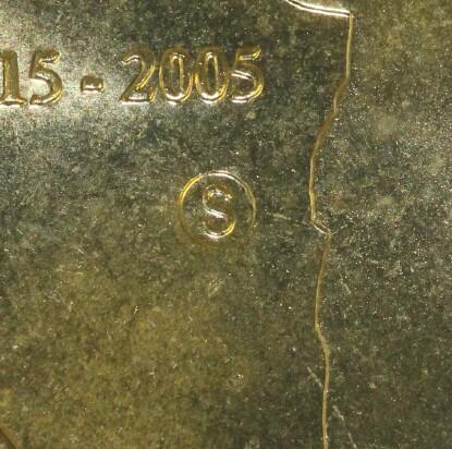 Sydney (S) privy-mark on 2005-S One Dollar (Gallipoli) piece.