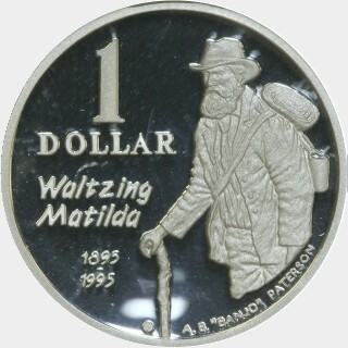 1995 Silver Proof One Dollar reverse