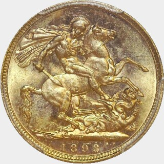 1893-M  Full Sovereign reverse