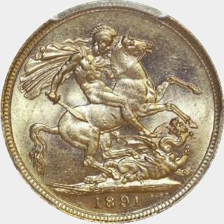 1891-S  Full Sovereign reverse
