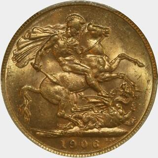 1906-M  Full Sovereign reverse