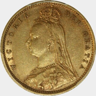 1891-S Sans JEB Half Sovereign obverse