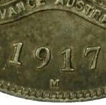 Melbourne 'M' mint-mark on a 1917-M Florin.