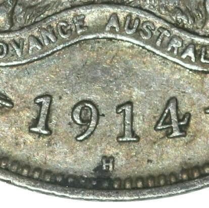Heaton & Sons 'H' mint-mark on a 1914-H Florin.