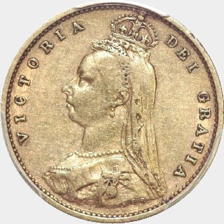1891-S With JEB Half Sovereign obverse