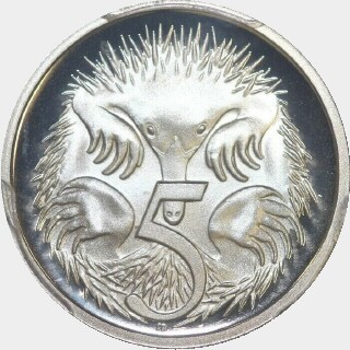 1987 Proof Five Cent reverse