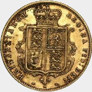 1877-M Wide Ribbon Half Sovereign reverse